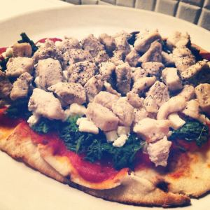 naan pizza--chicken spinach feta
